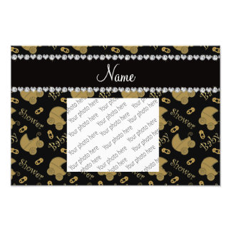 Name black gold baby carriages pins baby shower photo print