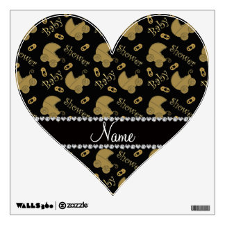 Name black gold baby carriages pins baby shower wall graphic