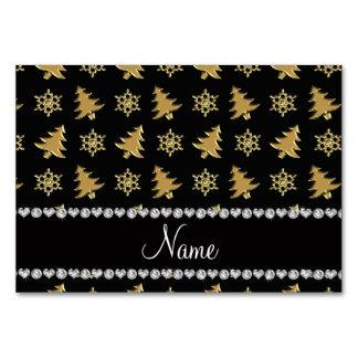 Name black gold christmas trees snowflakes card
