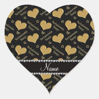 Name black gold hearts bachelorette party heart sticker