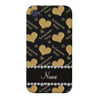 Name black gold hearts bachelorette party iPhone 4/4S covers