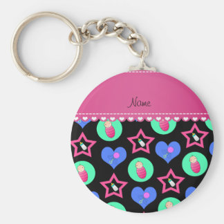 Name black hearts dots stars baby rattle bottle basic round button keychain