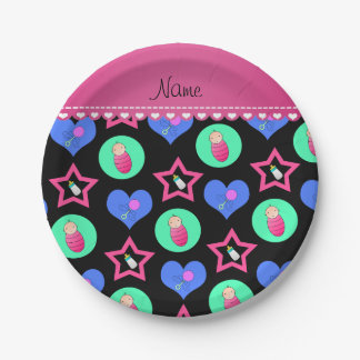 Name black hearts dots stars baby rattle bottle paper plate