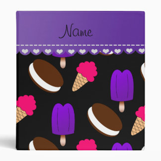 Name black ice cream cones sandwiches popsicles 3 ring binder
