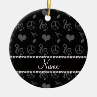 Name black music notes hearts peace sign ceramic ornament