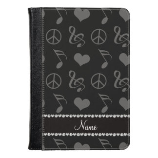 Name black music notes hearts peace sign kindle case