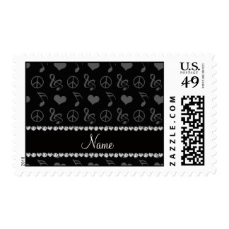 Name black music notes hearts peace sign postage