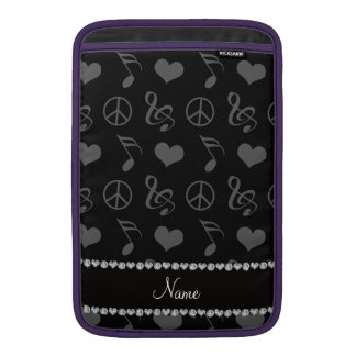 Name black music notes hearts peace sign sleeve for MacBook air