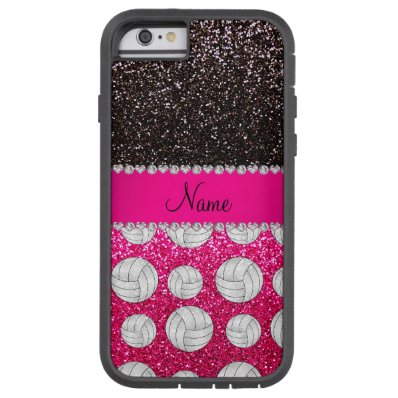 Name black neon hot pink glitter volleyballs tough xtreme iPhone 6 case