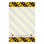 [ Thumbnail: Name; Black & Orange Yen Signs (¥) Striped Pattern Stationery ]