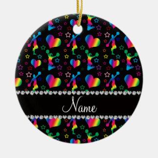 Name black rainbow cheerleading hearts stars ceramic ornament