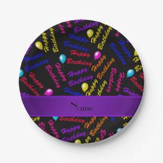 Name black rainbow happy birthday balloons paper plate