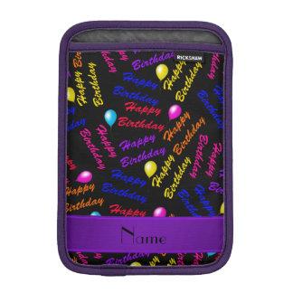 Name black rainbow happy birthday balloons sleeve for iPad mini