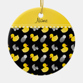 Name black rubberduck baby carriage ceramic ornament