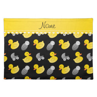 Name black rubberduck baby carriage placemat