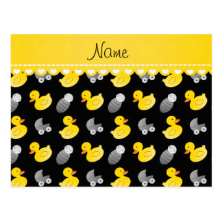 Name black rubberduck baby carriage postcard