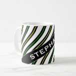 [ Thumbnail: Name + Black, Yellow & Green Wavy Lines Pattern Coffee Mug ]