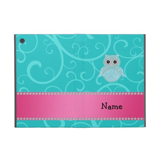 Name bling owl diamonds turquoise swirls case for iPad mini