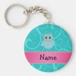 Name bling owl diamonds turquoise swirls key chain