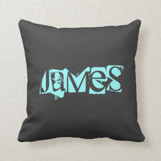 Name,Blue,Black Throw Pillow