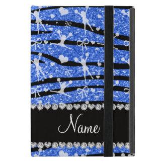 Name blue glitter zebra stripes cheerleading iPad mini cases