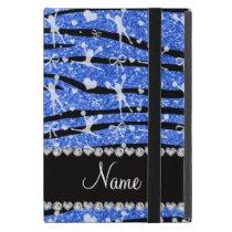 Name blue glitter zebra stripes cheerleading iPad mini cover