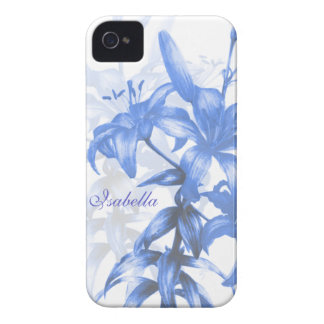 Name blue oriental lily floral iphone4S case iPhone 4 Cases