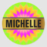 [ Thumbnail: Name + Blurry Vibrant Bursting Flower-Like Pattern Round Sticker ]