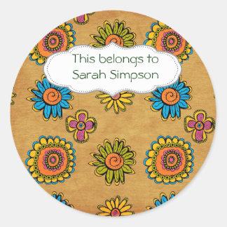 Name book plates round sticker
