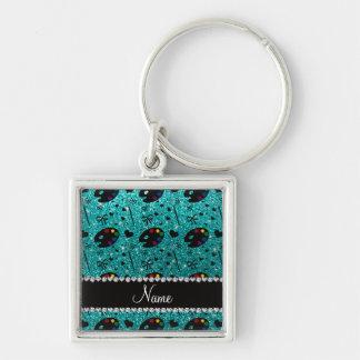 name bright aqua glitter painter palette brushes Silver-Colored square keychain