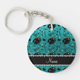 name bright aqua glitter painter palette brushes Double-Sided round acrylic keychain