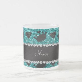 Name bright aqua glitter princess crowns diamonds coffee mugs