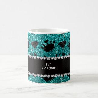 Name bright aqua glitter princess crowns diamonds coffee mug