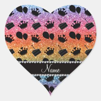 Name bright rainbow glitter crowns balloons cake heart sticker