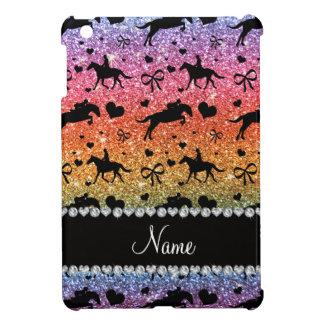 Name bright rainbow glitter equestrian hearts bows cover for the iPad mini