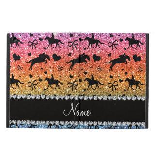 Name bright rainbow glitter equestrian hearts bows iPad air case