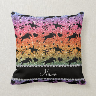 Name bright rainbow glitter equestrian hearts bows throw pillow