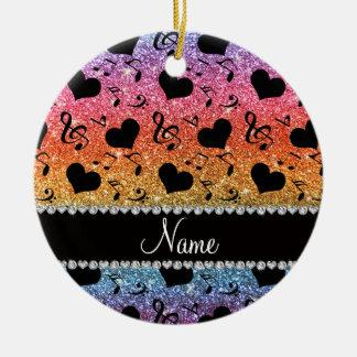 Name bright rainbow glitter music notes hearts ceramic ornament