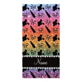 name bright rainbow glitter perfume lipstick bows photo card