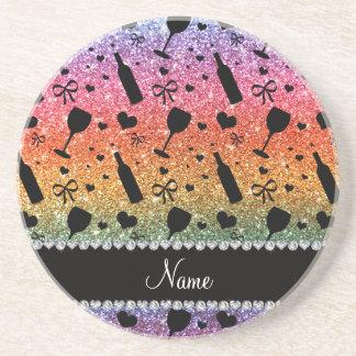 Name bright rainbow glitter wine glass bottle beverage coaster