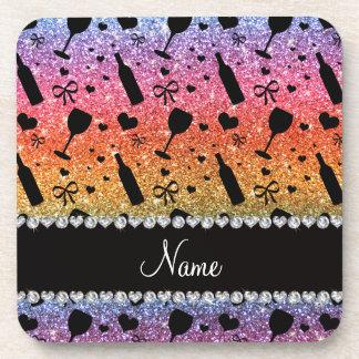 Name bright rainbow glitter wine glass bottle beverage coasters