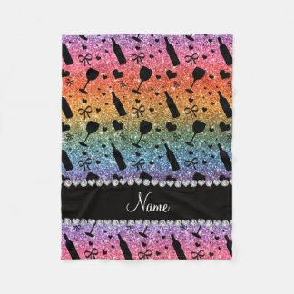 Name bright rainbow glitter wine glass bottle fleece blanket