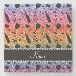 Name bright rainbow glitter wine glass bottle stone beverage coaster