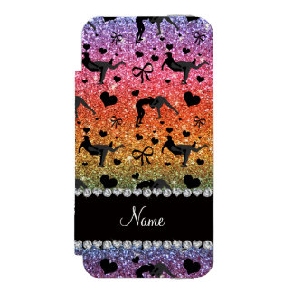 Name bright rainbow glitter wrestling hearts bows wallet case for iPhone SE/5/5s