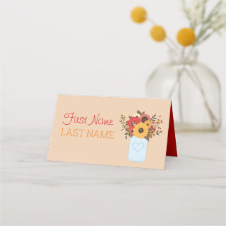 Name Cards for Thanksgiving Dinner with Flowers