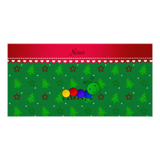Name caterpillar green christmas trees stars photo card