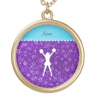 Name cheerleader indigo purple glitter stars round pendant necklace