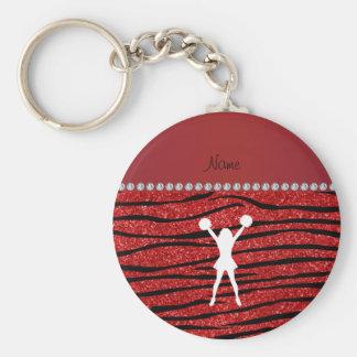 Name cheerleader red glitter zebra stripes basic round button keychain