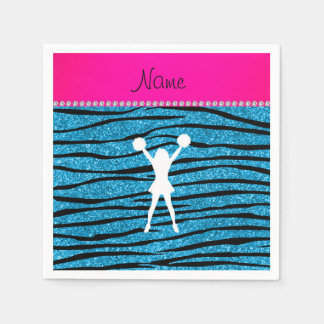 Name cheerleader sky blue glitter zebra stripes napkin