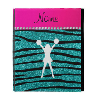 Name cheerleader turquoise glitter zebra stripes iPad folio cases